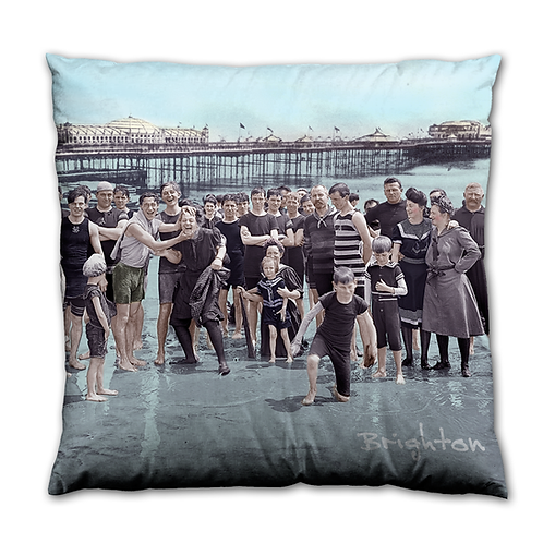 Crowd on Brighton Beach - Cushion