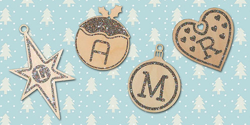 Birch Ply Christmas Bauble with Glitter Initial