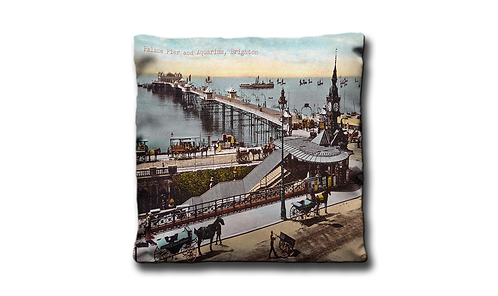 "Mini Cushion - Palace Pier & Aquarium 14"" x 14"""