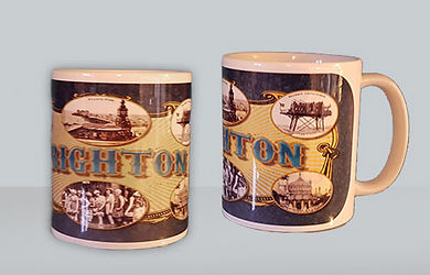 ceramic mugs depicting in house design images and vintageimages of Brighton