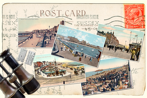 Brighton 5 pic Postcard - Oblong Cushion