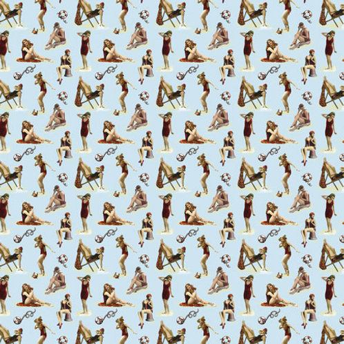 """Giftwrap  SVW-06  """"Swimmers on beach"""""""