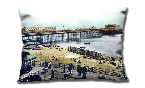 Cushion Cover - Brighton Palace Pier & Beach