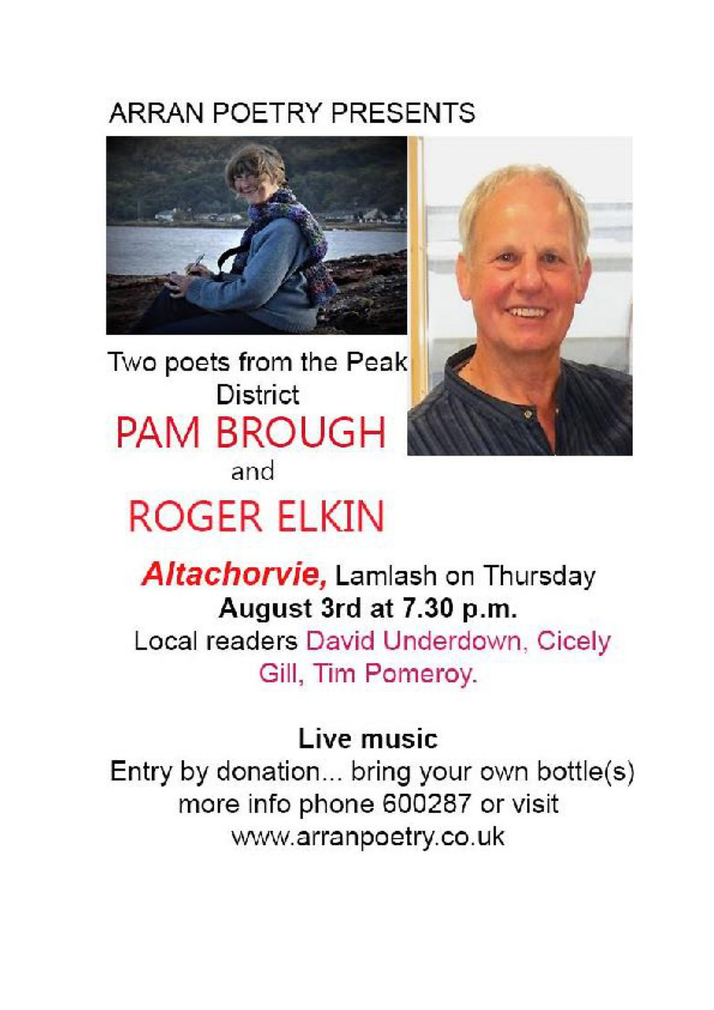 Poster for Pam Brough and Roger Elkin Evening