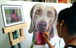 Pintura retrato Mascota by Edith Martinez