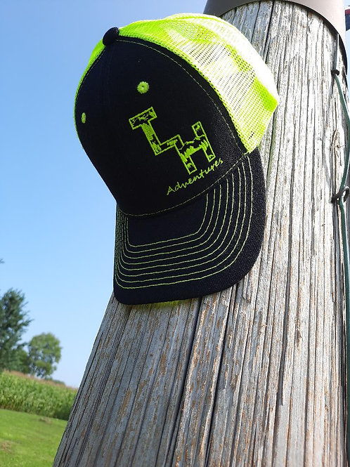 Black and High Visibility Yellow Trucker Cap