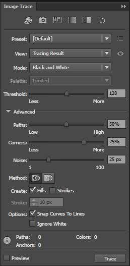 Image Trace Options Palette Adobe Illustrator Free Tutorial