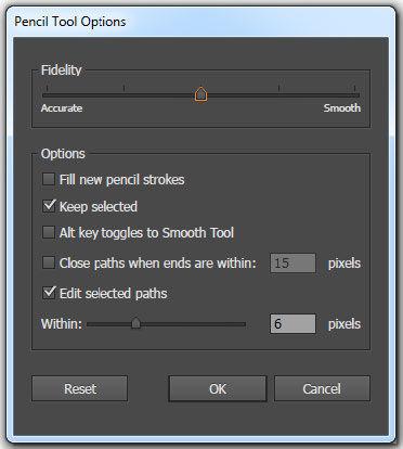Pencil Tool Options Box Adobe Illustrator