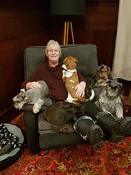 Macy, Peanut & our 3 girls relaxing with