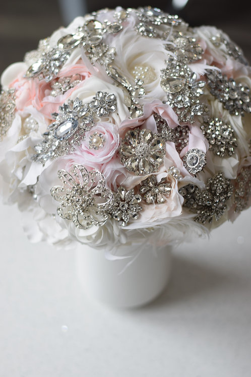 Custom order crystal and flower bloom bouquet