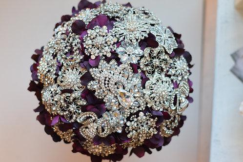 Ready to Ship Crystal purple petal  Bridal Bouquet