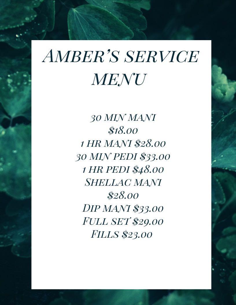 Amber's Service Menu