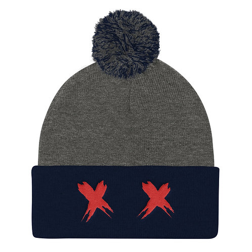 Exes Over Eyes Pom Knitted Beanie