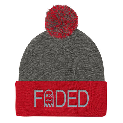 Faded Stamp Pom Knitted Beanie