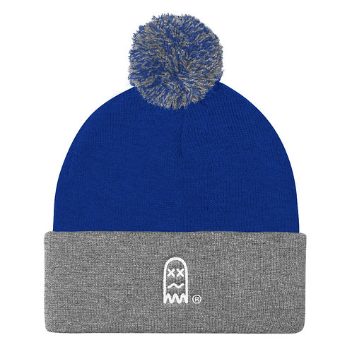 Faded Ghost Pom Knitted Beanie