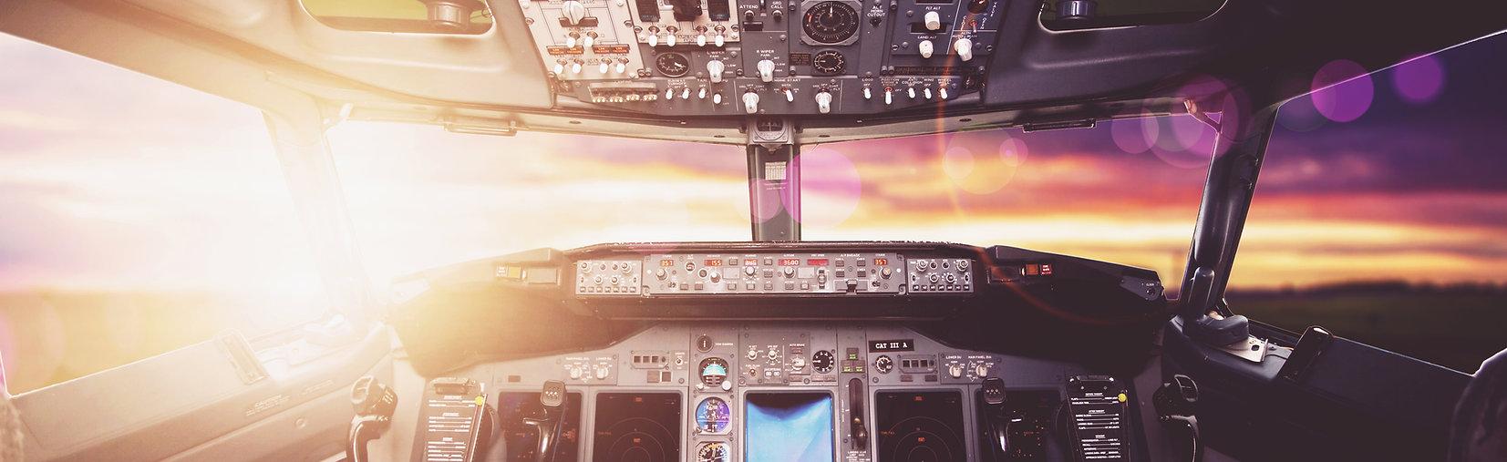 Aircraft interior, cockpit view inside t