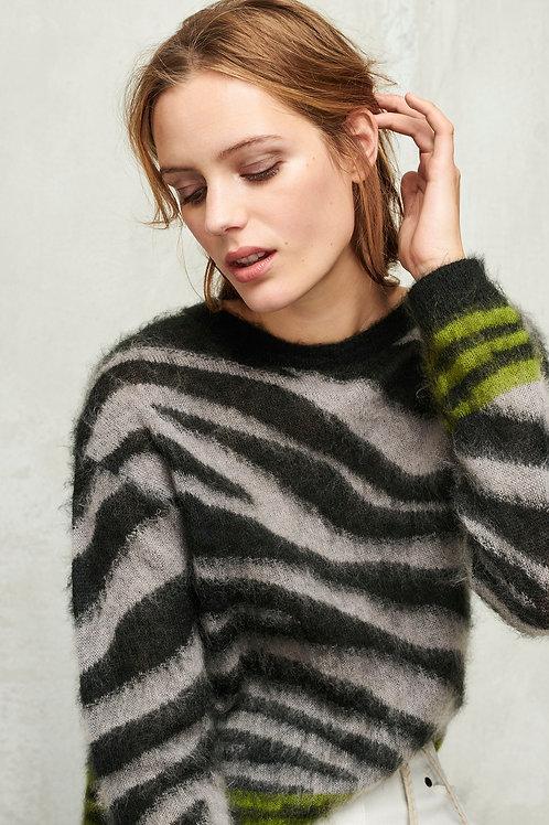 Moherowy sweter w zwierzęcy deseń Luisa Cerano