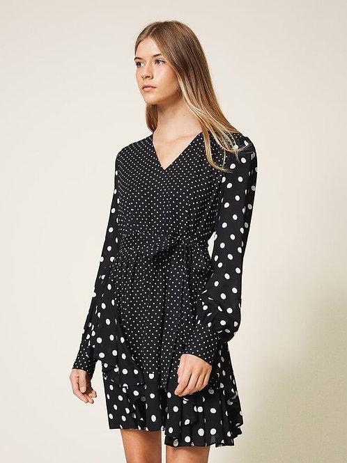 Sukienka z krepy w kropki TWINSET