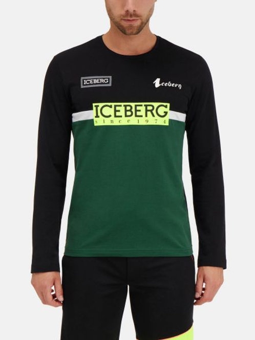 Dwukolorowy longsleeve z logo ICEBERG