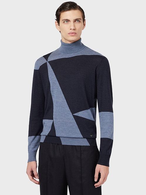 Sweter z golfem w bloki Emporio Armani
