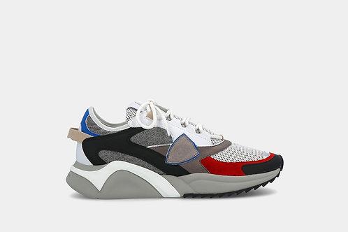"""Sneakersy """"Eze Fancy - Gris Noir Rouge"""" Philippe Model"""