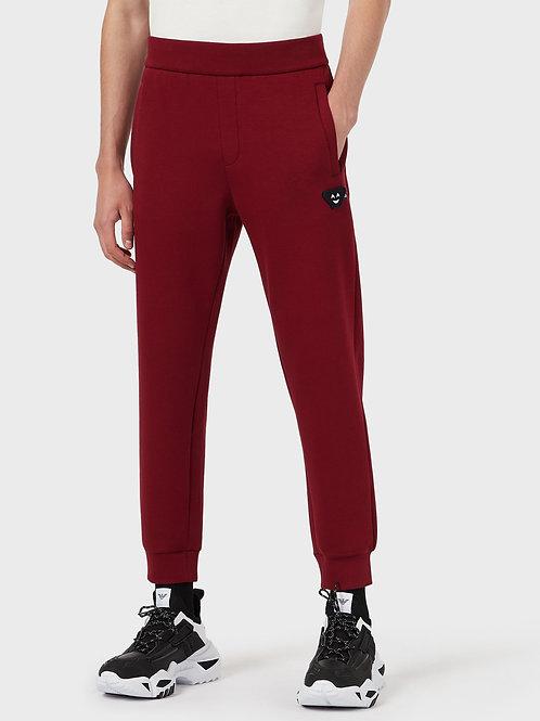 Bordowe spodnie typu jogger Emporio Armani