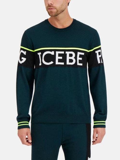 Ciemnozielony sweter z logo ICEBERG
