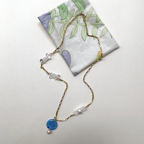 Collier plaqué or, pendentif millefiori bleu | Gigi-Antoinette