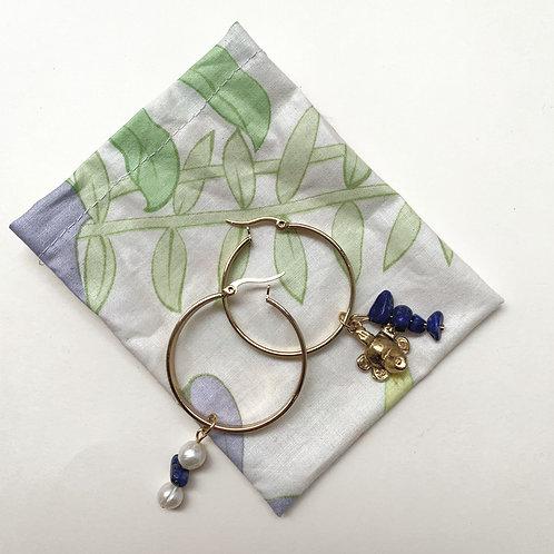 Créoles plaquées or, cernées de pierres Lapis Lazuli   Gigi-Antoinette