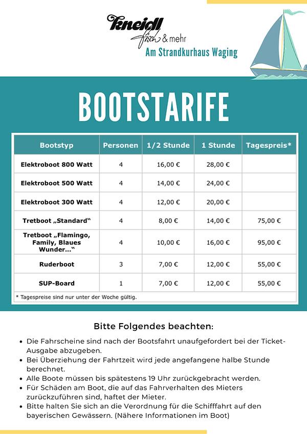 Bootstarife Bootsverleih Kneidl Waging am See