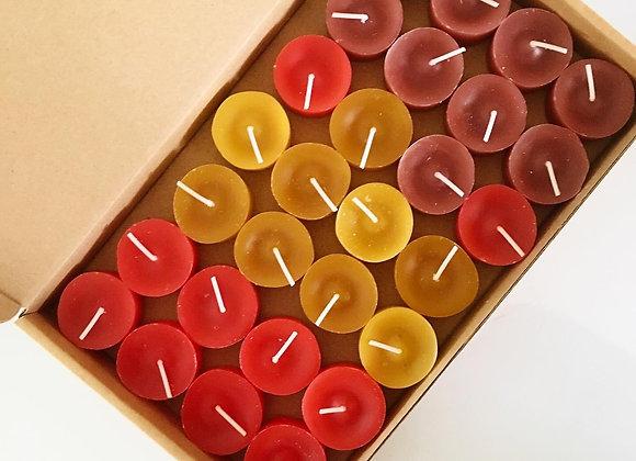 28 stuks duurzame waxinelichtjes, tinten rood, geel