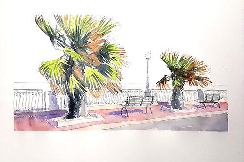 Pink tiled promenade