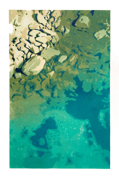 Selmun coast - lino edition