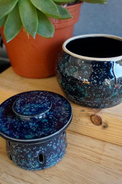 French Butter Pot - Malachite Obsidian