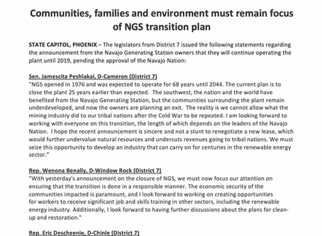 Communities, families and environment must remain focus of NGS transition plan