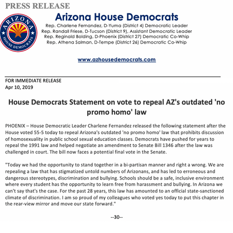 House Democrats Statement on vote to repeal AZ's outdated 'no promo homo' law