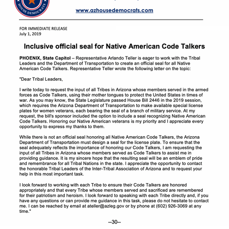 Inclusive official seal for Native American Code Talkers