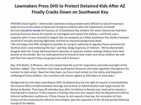 Lawmakers Press DHS to Protect Detained Kids after AZ Finally Cracks Down on Southwest Key