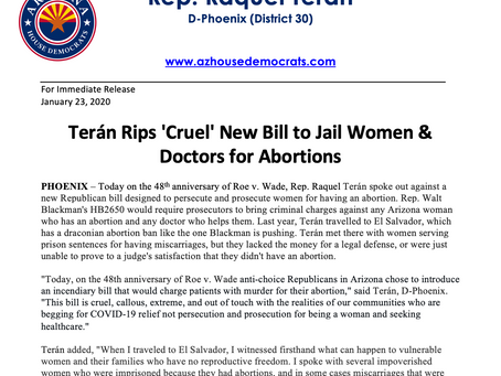 PRESS RELEASE: Terán Rips 'Cruel' New Bill to Jail Women & Doctors for Abortions
