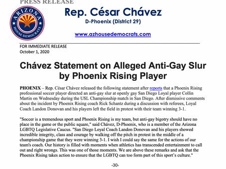 PRESS RELEASE: Chávez Statement on Alleged Anti-Gay Slur by Phoenix Rising Player