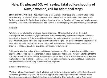 Hale, Eid pleased DOJ will review fatal police shooting of Navajo woman, call for additional steps