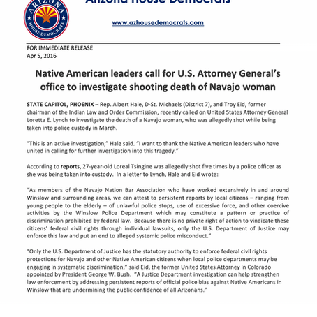 Native American leaders call for US AG office to investigate shooting death of Navajo woman