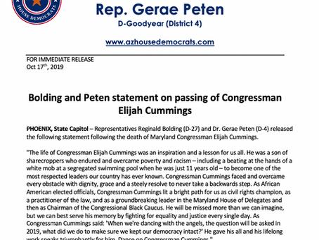 PRESS RELEASE: Bolding and Peten statement on passing of Congressman Elijah Cummings