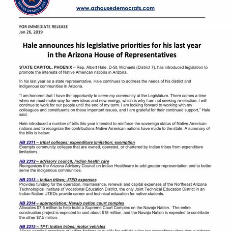 Hale announces his legislative priorities for his last year in Arizona House of Representatives