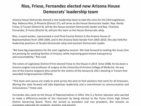 Rios, Friese, Fernandez elected new Arizona House Democrats' leadership team