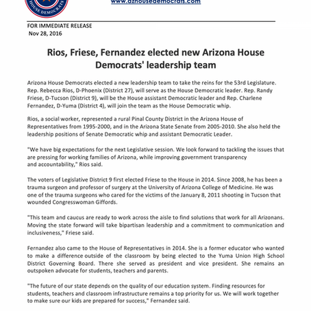 Rios, Friese, Fernandez elected new Arizona House Democrats' leadership team