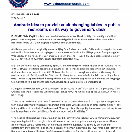 Andrade idea to provide adult changing tables in public restrooms on its way to the governor's desk