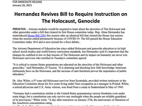 PRESS RELEASE: Hernandez Revives Bill to Require Instruction on The Holocaust, Genocide