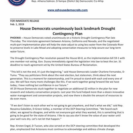 House Democrats unanimously back landmark Drought Contingency Plan
