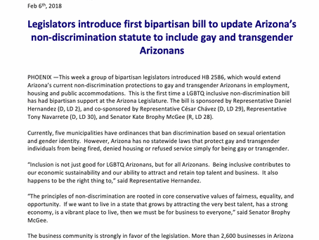 Legislators introduce first bipartisan bill to update Arizona's non-discrimination statute